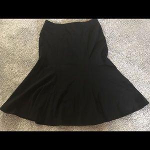 Black polyester blend. Flared Midi Skirt